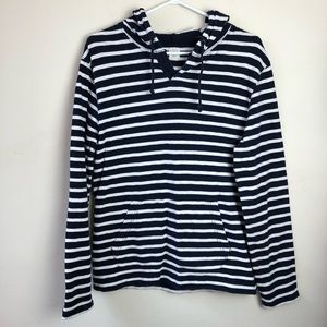 J Crew Size S Striped Long Sleeve Hooded Shirt